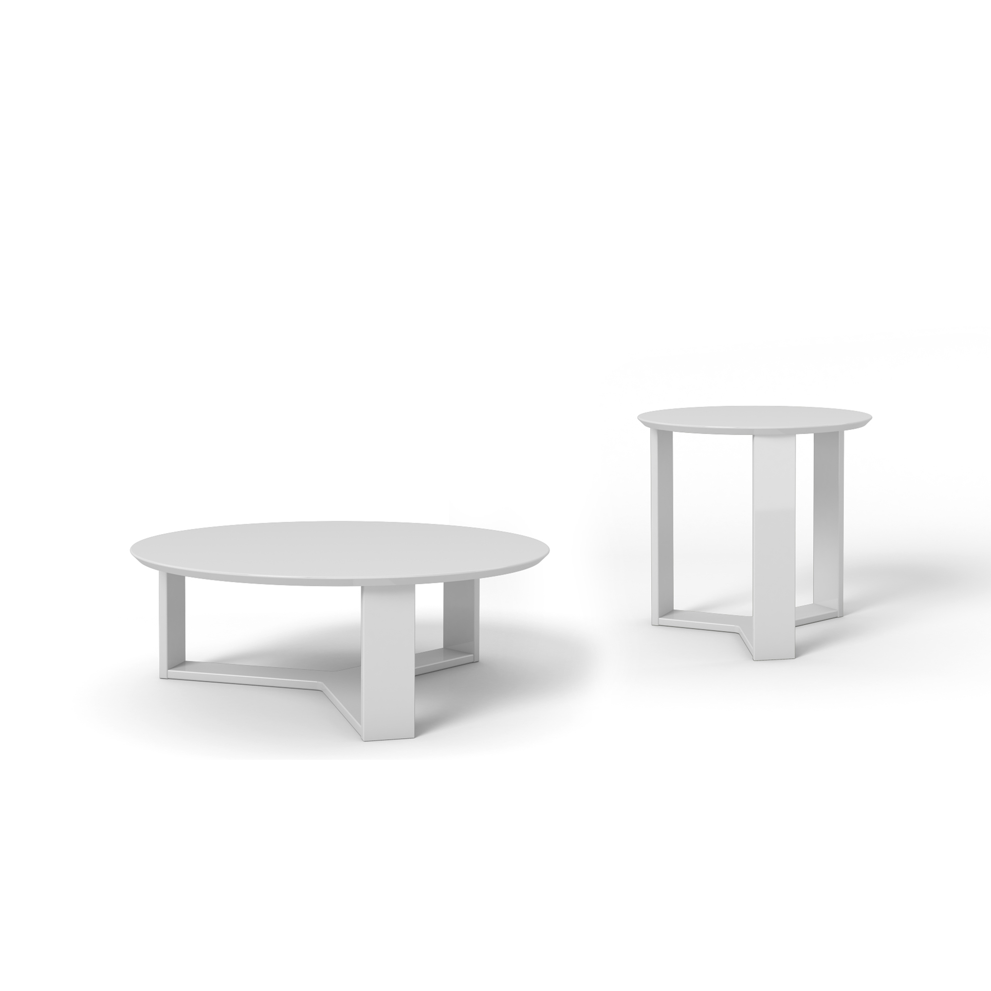 Madison White Gloss 2 Piece Accent Table Living Room Set By Manhattan Comfort