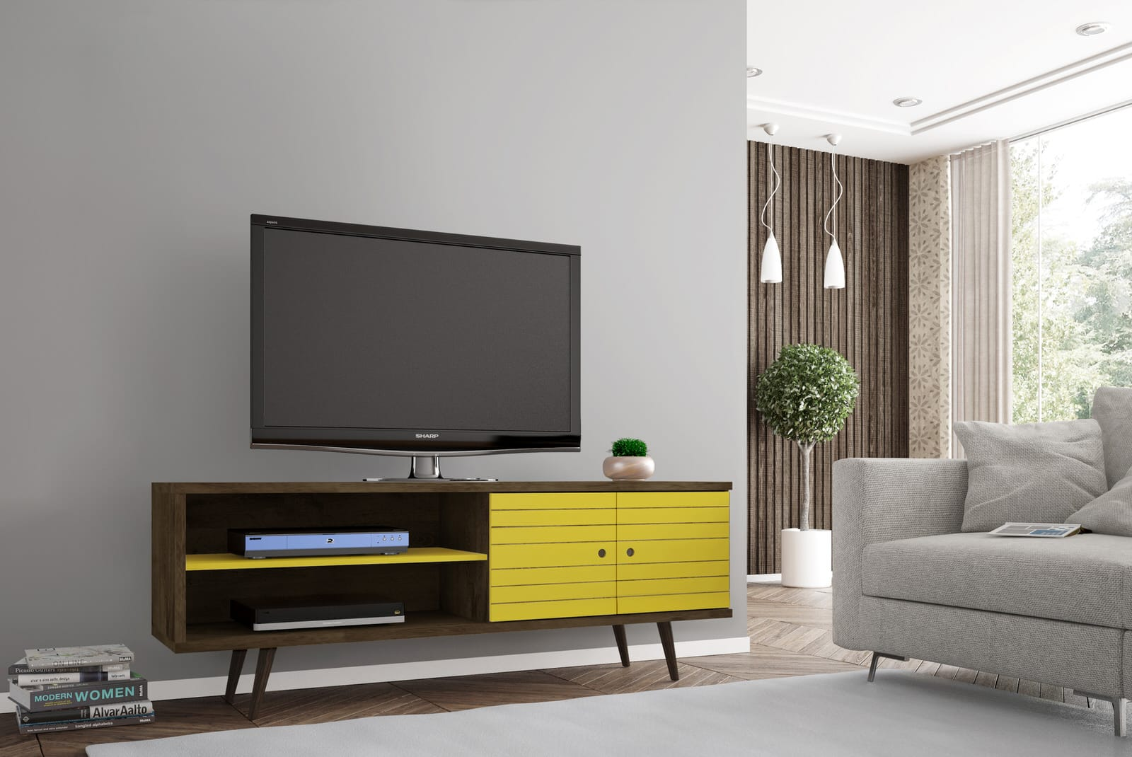 Liberty Rustic Brown Yellow 6299 Inch Mid Century Modern Tv