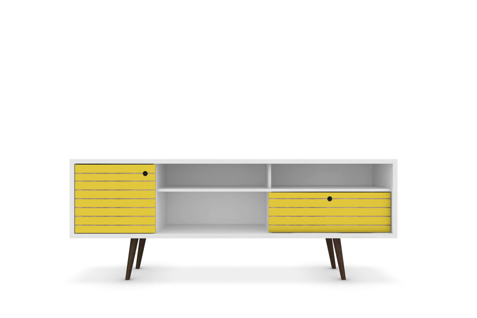 Liberty White U0026 Yellow 70.86 Inch Mid Century   Modern TV Stand W/ 4  Shelving Spaces, 1 Drawer U0026 Solid Wood Legs By Manhattan Co