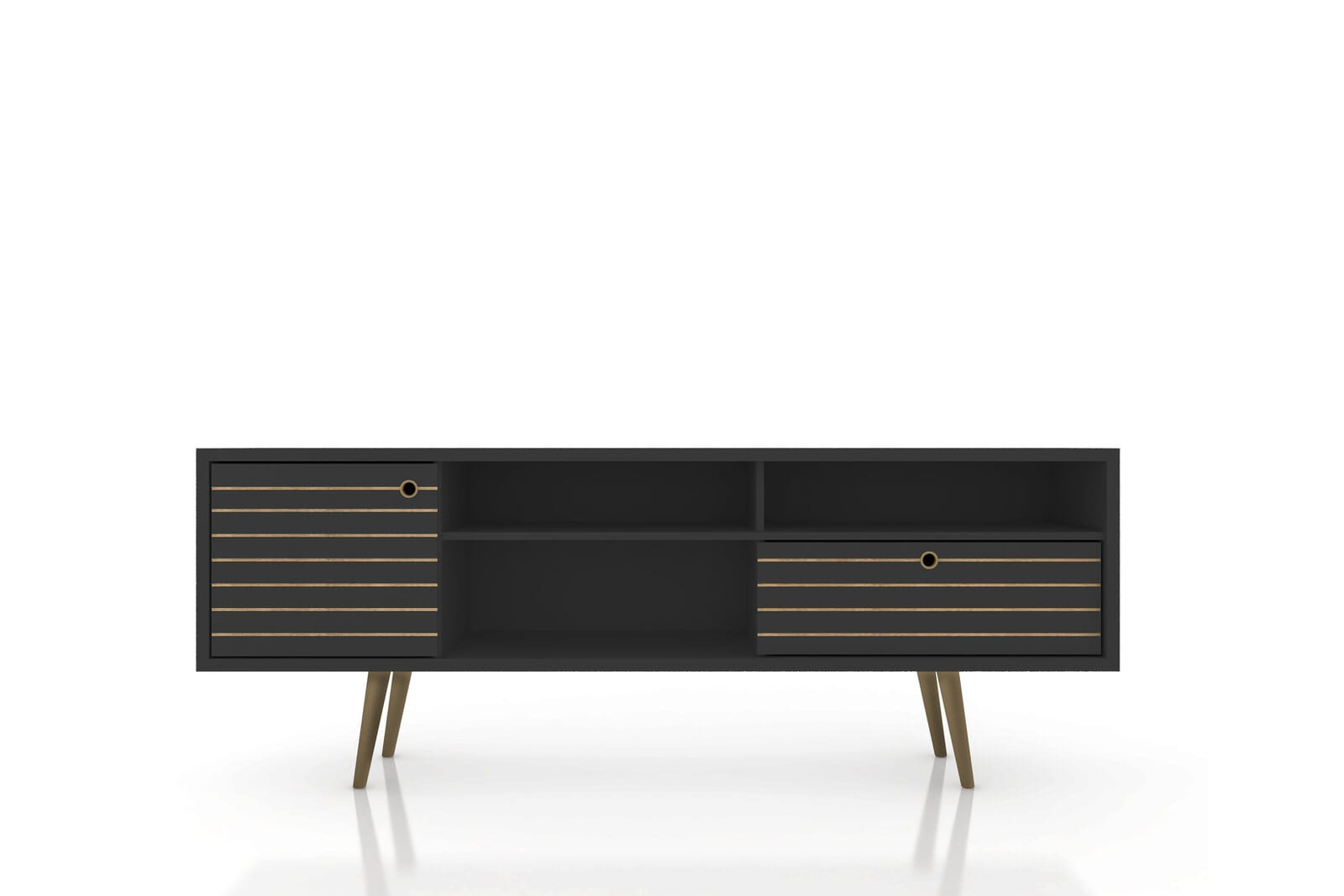 buy online 2230f f8fa5 Liberty Mid Century - Modern 70.86 Inch Black TV Stand w/ 4 Shelving Spaces  & 1 Drawer by Manhattan Comfort