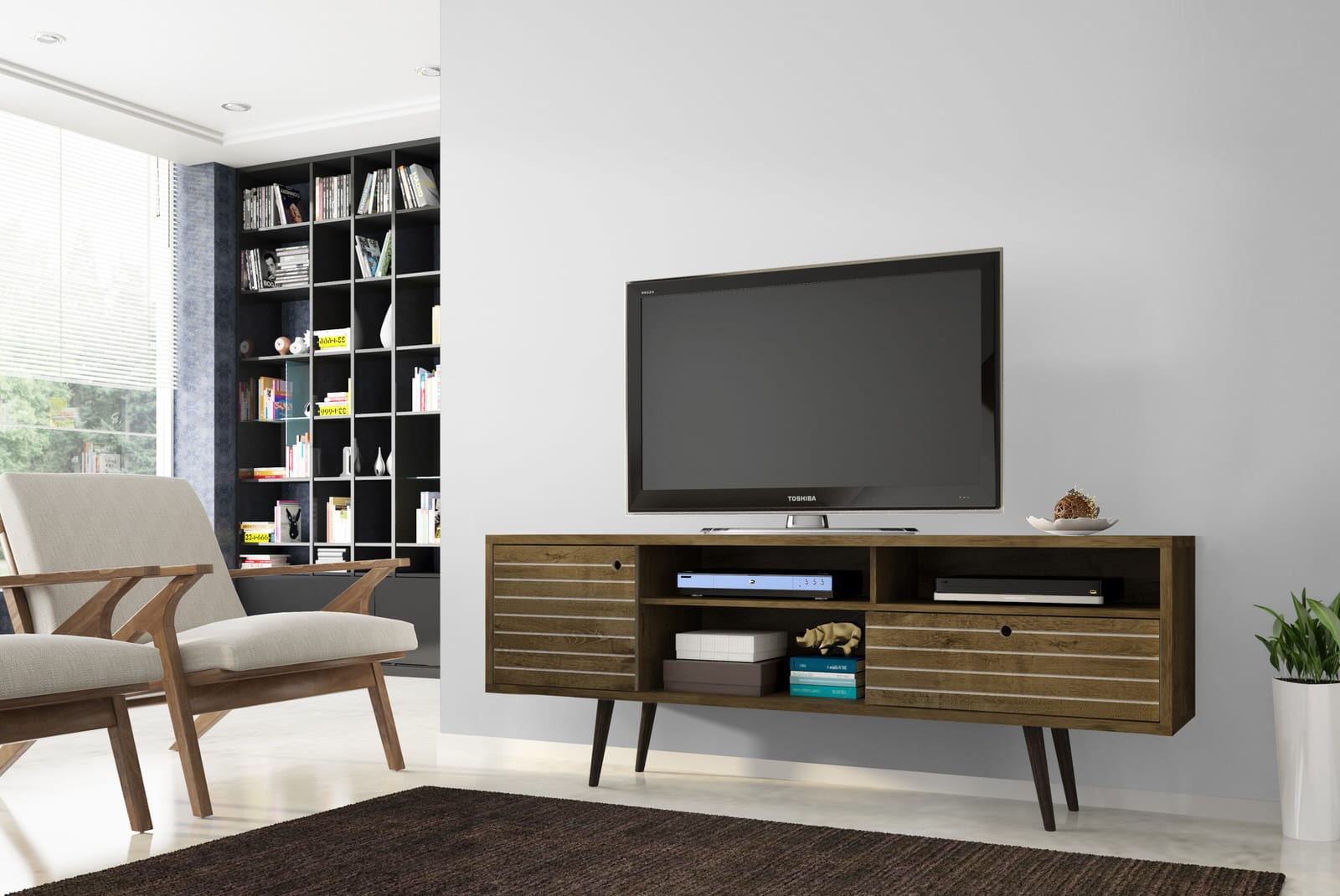 Liberty Rustic Brown 7086 Inch Mid Century Modern Tv Stand W 4