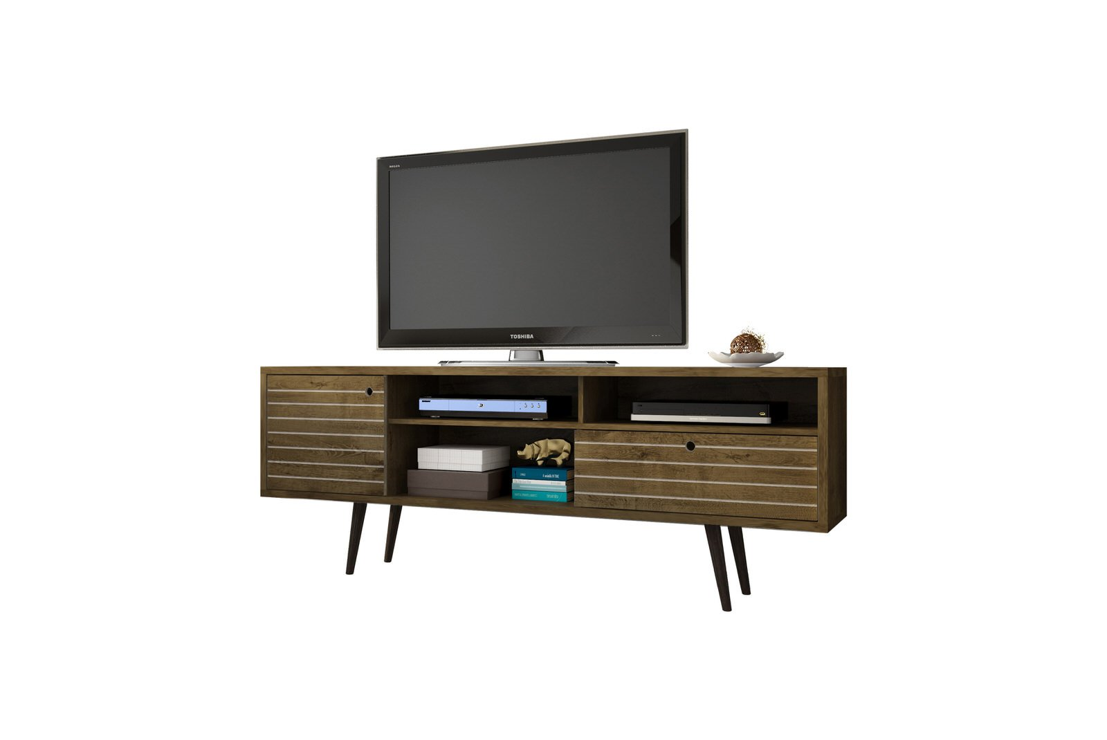 Liberty Rustic Brown 70 86 Inch Mid Century Modern Tv Stand W 4