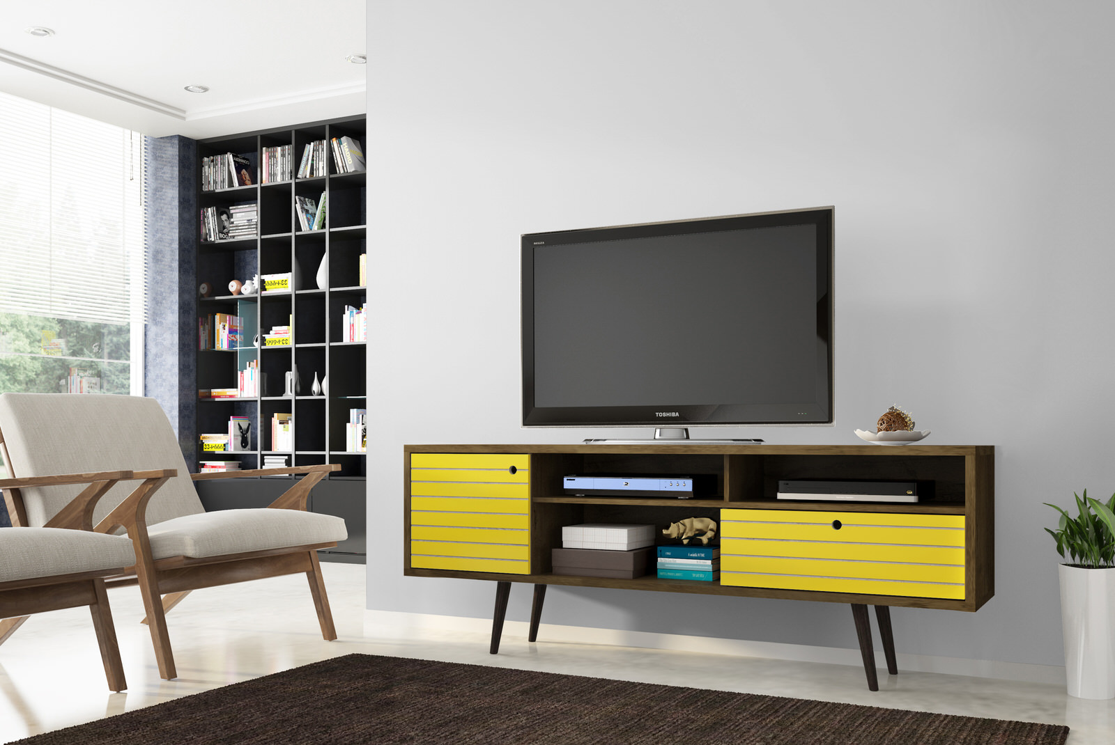 Liberty Rustic Brown U0026 Yellow 70.86 Inch Mid Century   Modern TV Stand W/ 4  Shelving Spaces, 1 Drawer U0026 Solid Wood Legs By Manha