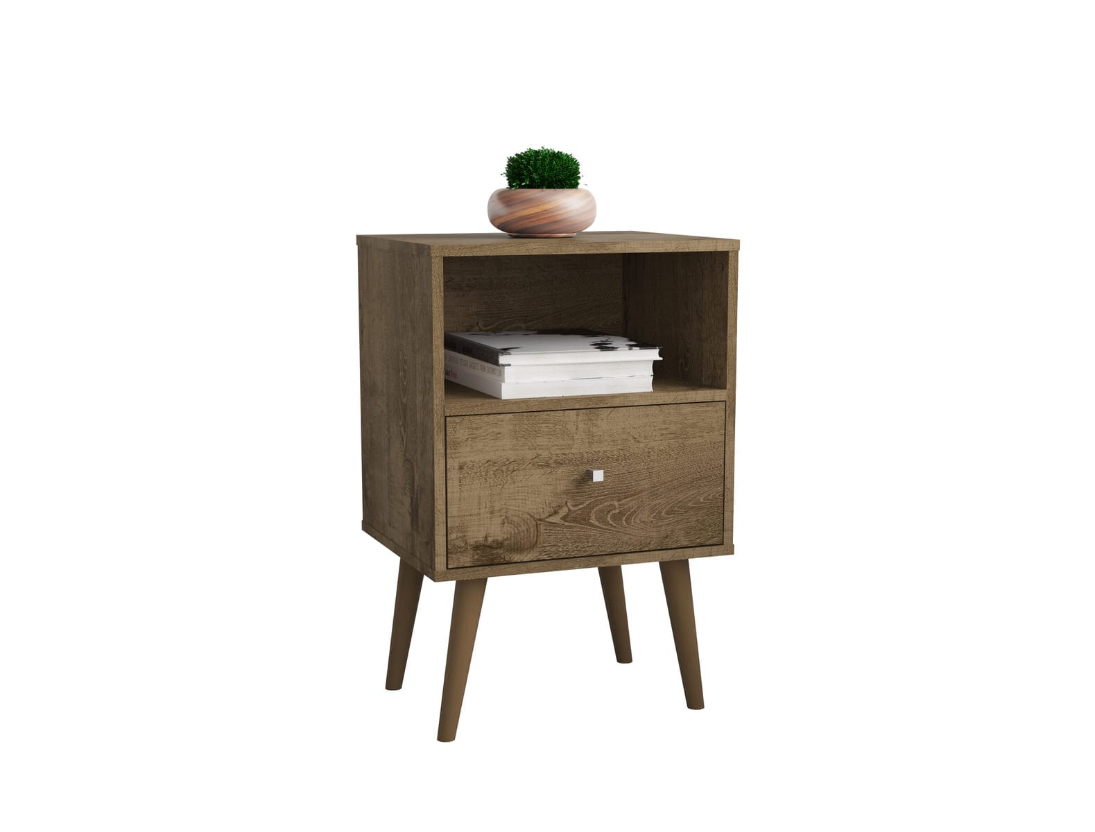 Liberty Mid Century Modern Rustic Brown Nightstand 1 0 W 1 Cubby Space 1 Drawer By Manhattan Comfort