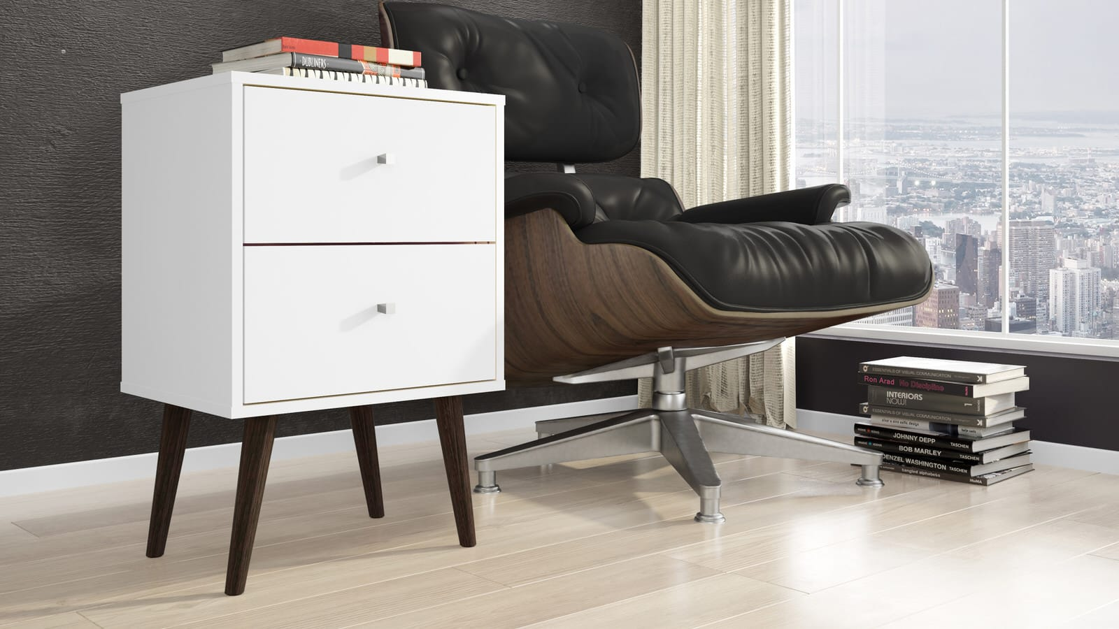 Liberty White Mid Century   Modern Nightstand 2.0 W/ 2 Full Extension  Drawers U0026 Solid Wood Legs By Manhattan Comfort