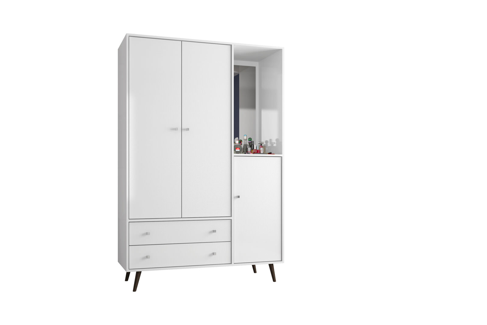 Liberty White 47 83 Inch Mid Century Modern Armoire W Mirror 4 Shelves 2 Drawers Hanging Rod By Manhattan Comfort