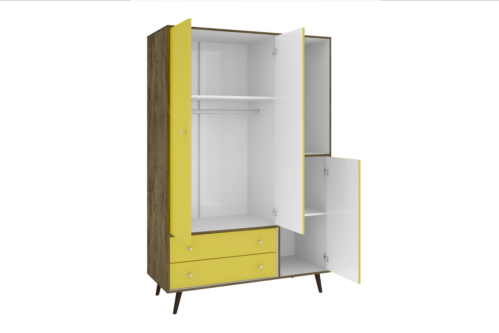 Liberty Rustic Brown U0026 Yellow 47.83 Inch Mid Century   Modern Armoire W/  Mirror, 4 Shelves, 2 Drawers U0026 Hanging Rod By Manhattan
