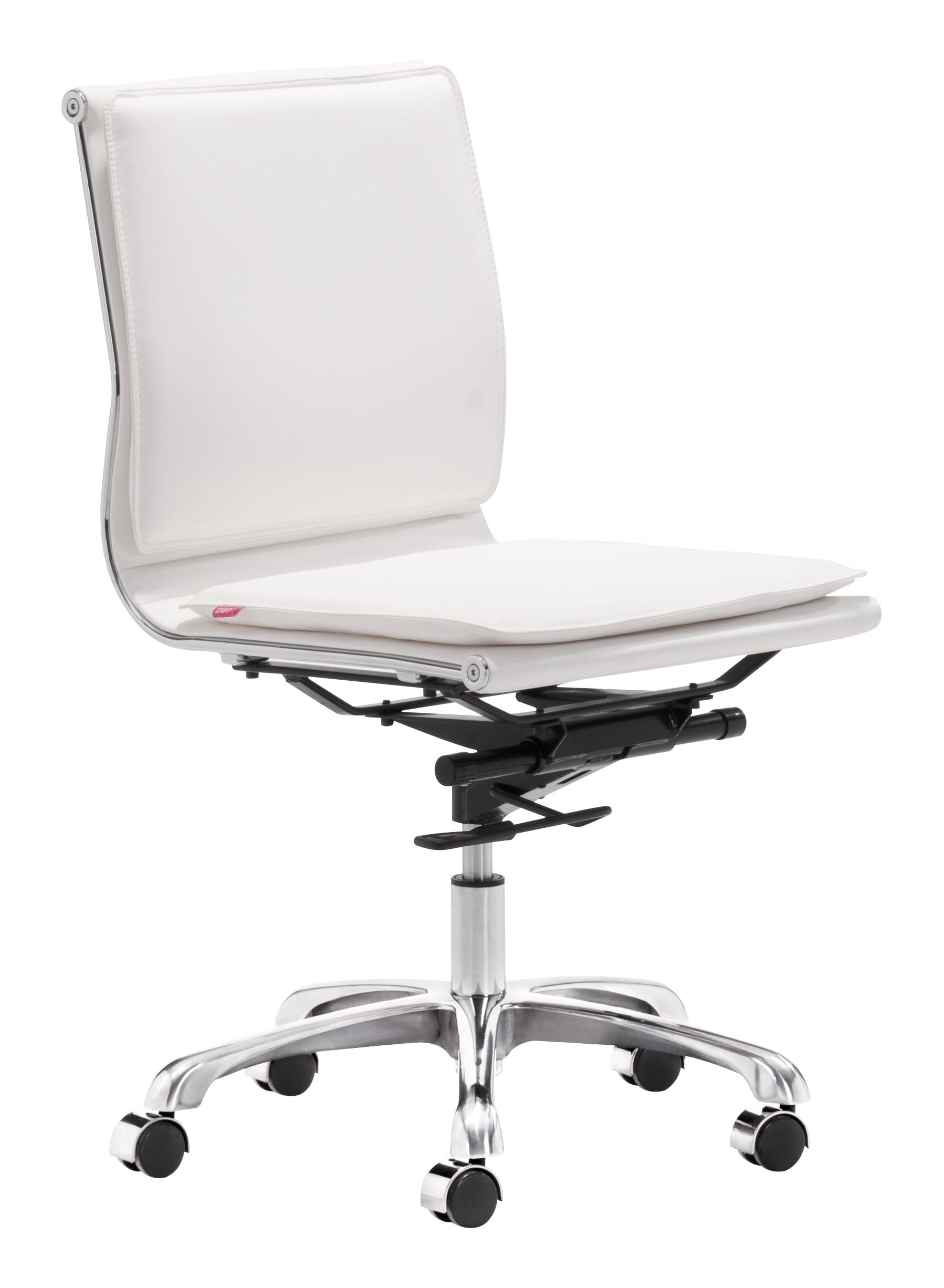 lider plus armless office chair white by zuo modern