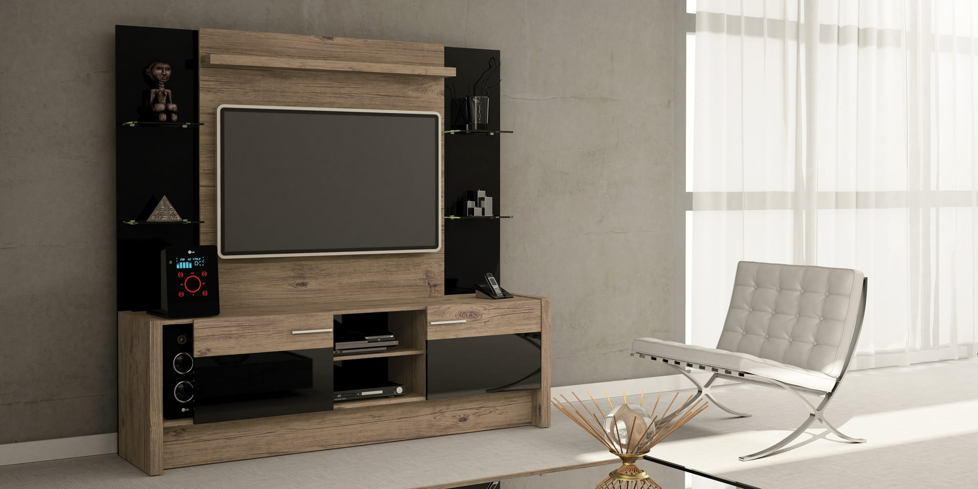 Morning Side Nature Black Freestanding Theater Entertainment Center By Manhattan Comfort