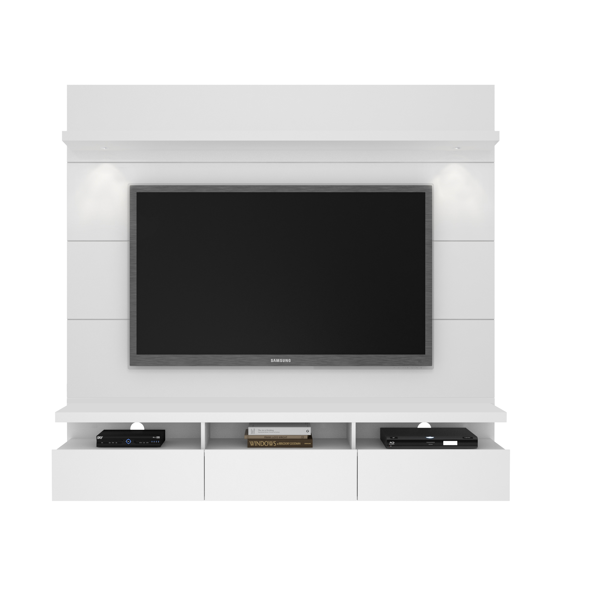 50 Images Of Modern Floating Wall Theater Entertainment: Cabrini White Gloss 1.8 Floating Wall Theater