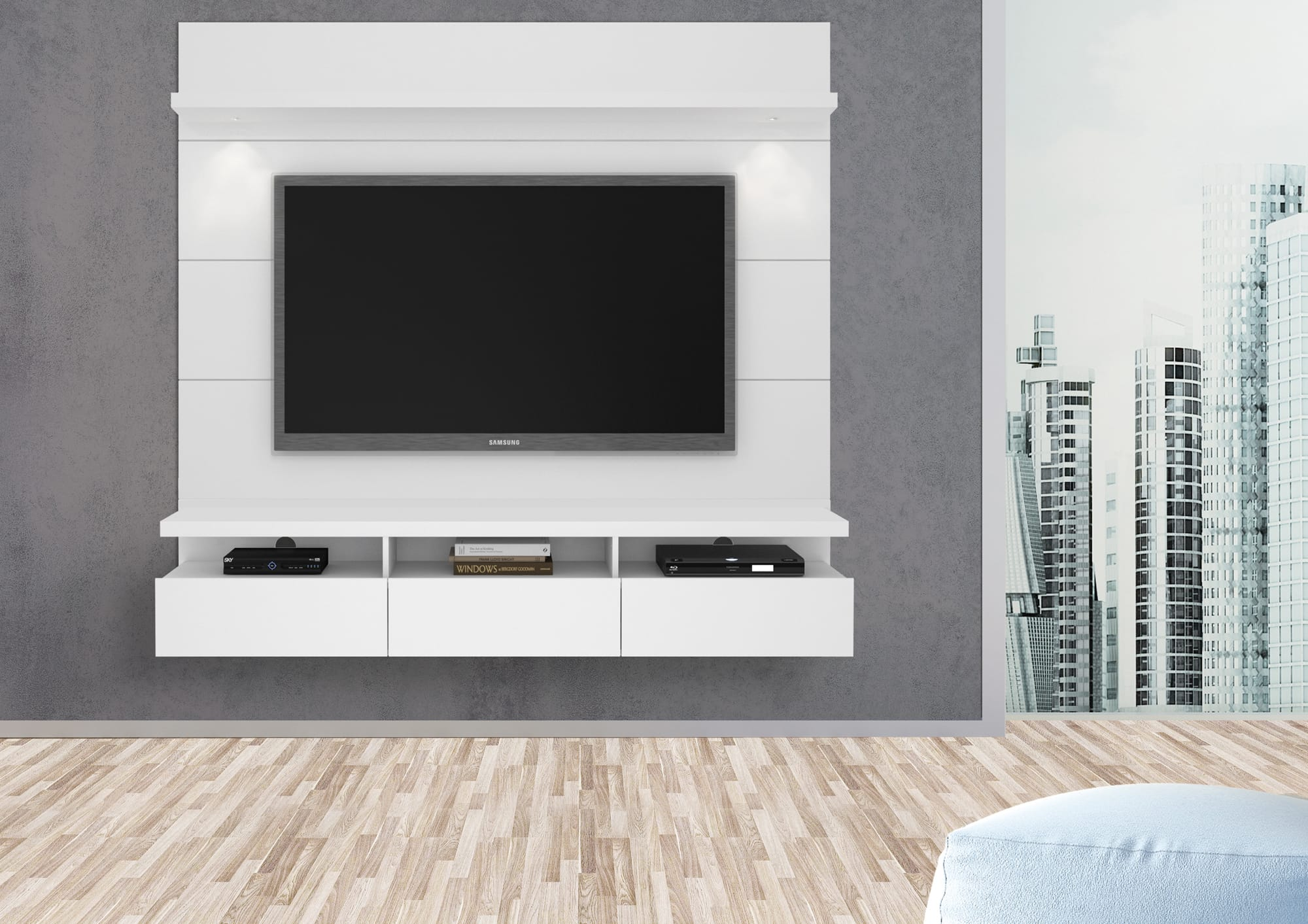 Cabrini White Gloss 2 2 Floating Wall Theater