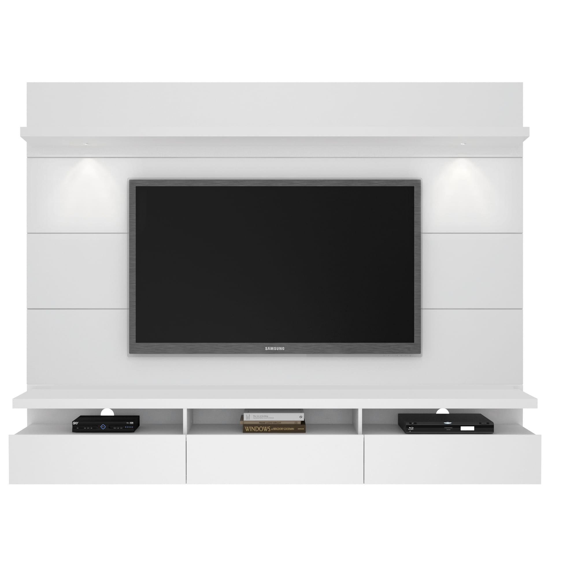 50 Images Of Modern Floating Wall Theater Entertainment: Cabrini White Gloss 2.2 Floating Wall Theater