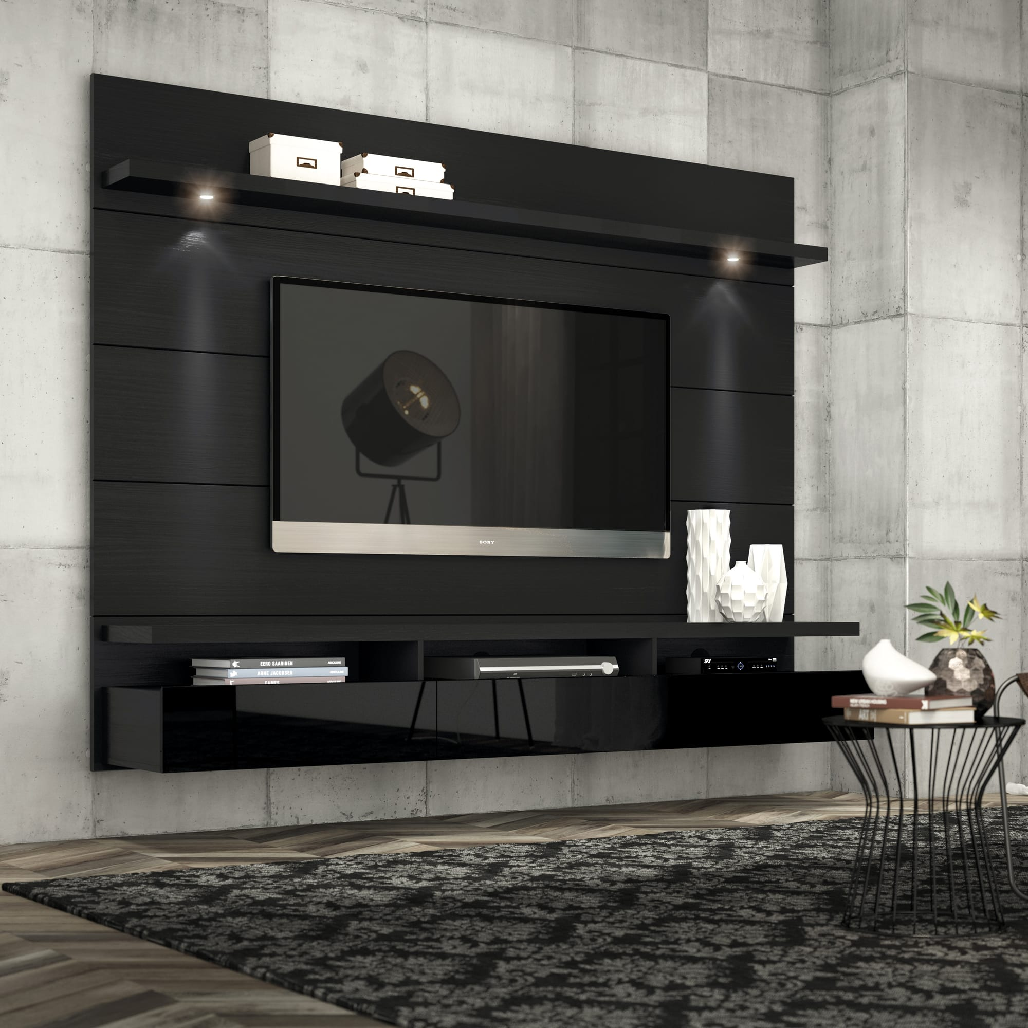 Cabrini Black Gloss U0026 Black Matte 2.2 Floating Wall Theater Entertainment  Center By Manhattan Comfort