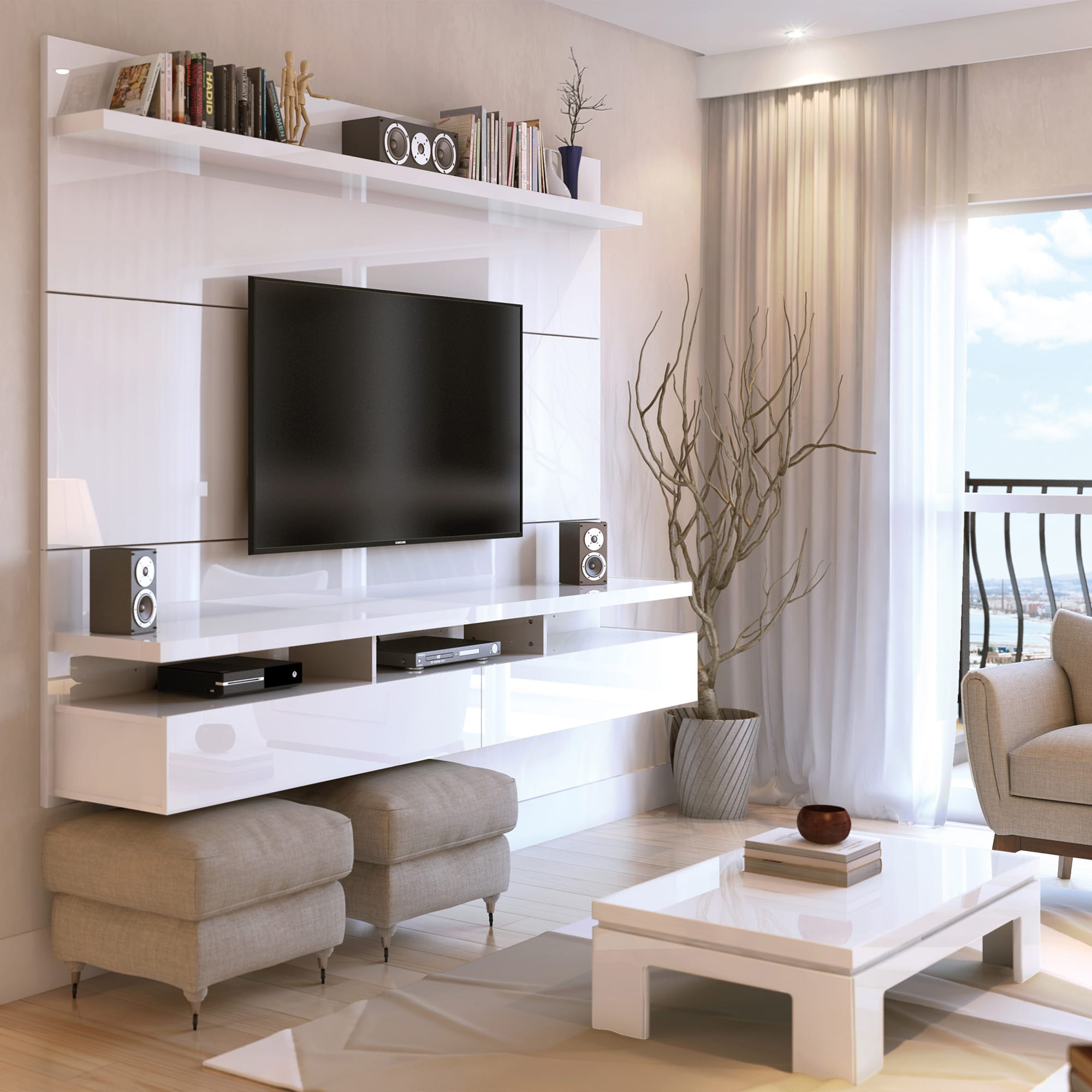 City 2.2 White Gloss Floating Wall Theater Entertainment