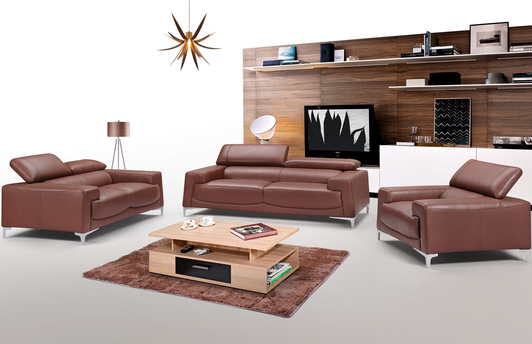 2537 Leather Sofa Set by ESF