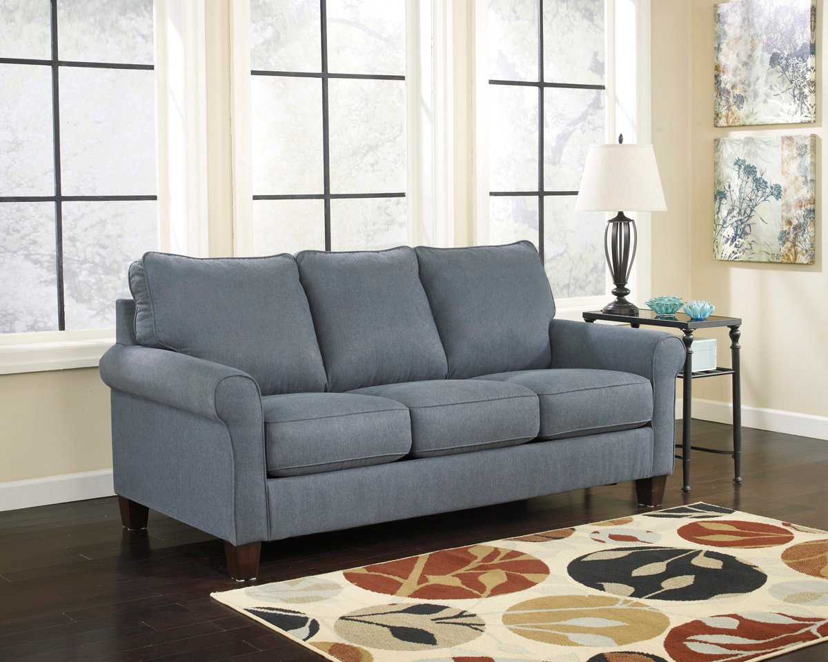 Zeth denim queen sofa sleeper signature design by ashley for Ashley sleeper sofa
