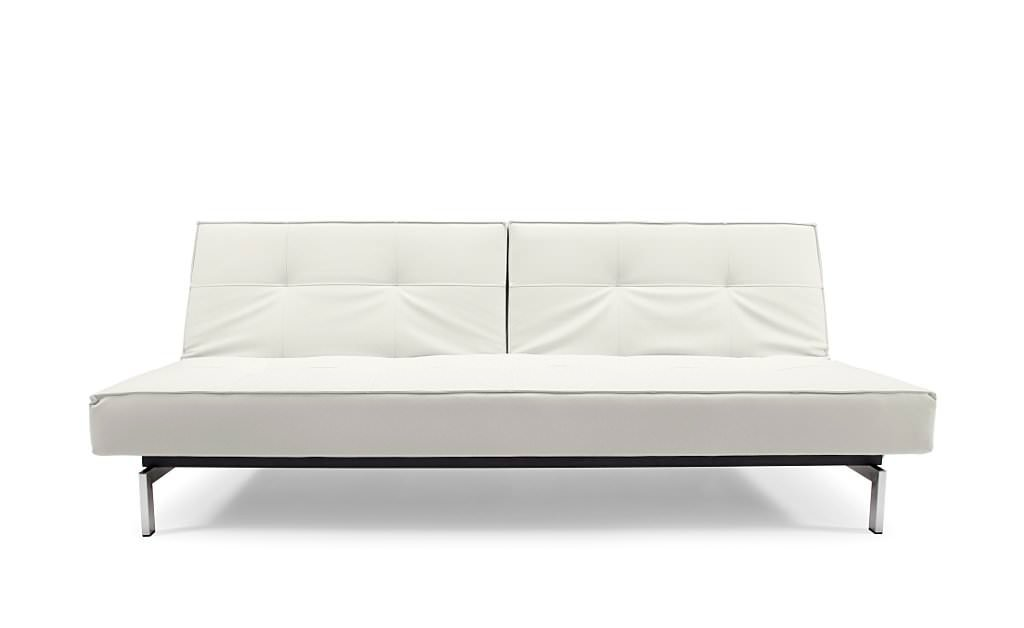 Splitback Sofa Bed White Leather Textile By Innovation