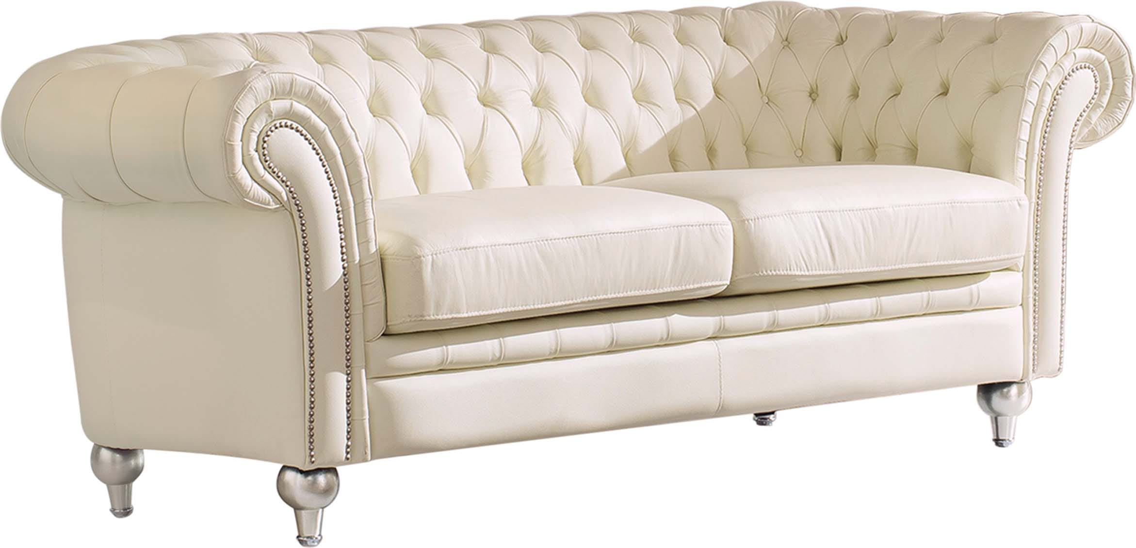 287 Ivory Leather Sofa W Electric