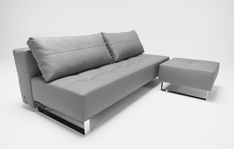 Supremax Deluxe Excess Sofa Bed Grey Leather Textile By