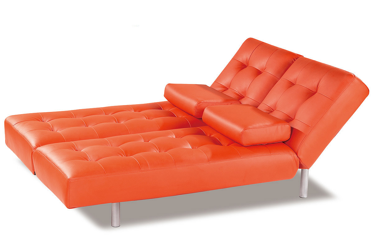 trio orange leatherette sofa bed by at home usa. Black Bedroom Furniture Sets. Home Design Ideas
