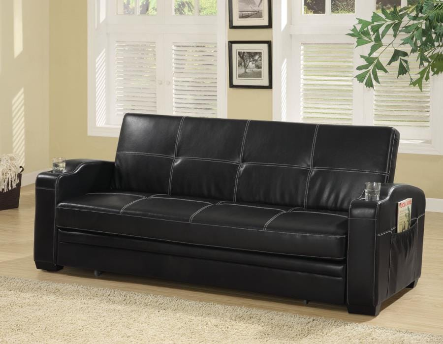 300132 Black Faux Leather Sofa Bed w/Storage & Cup Holders by Coaster