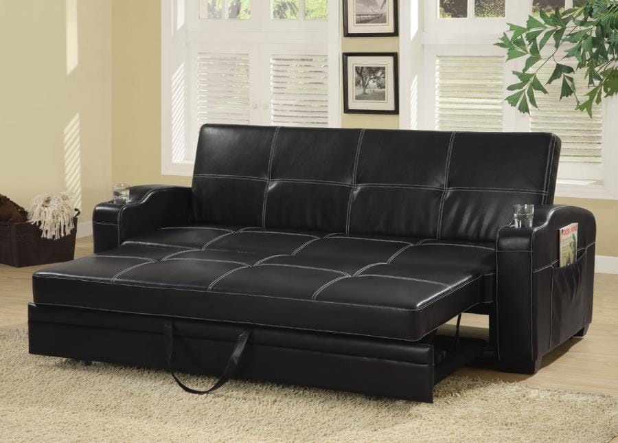 Super 300132 Black Faux Leather Sofa Bed W Storage Cup Holders By Coaster Theyellowbook Wood Chair Design Ideas Theyellowbookinfo