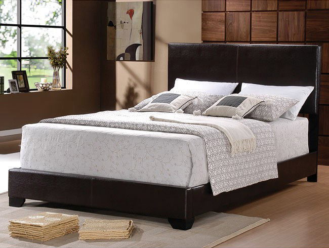 300261 Upholstered Bed Dark Brown By Coaster