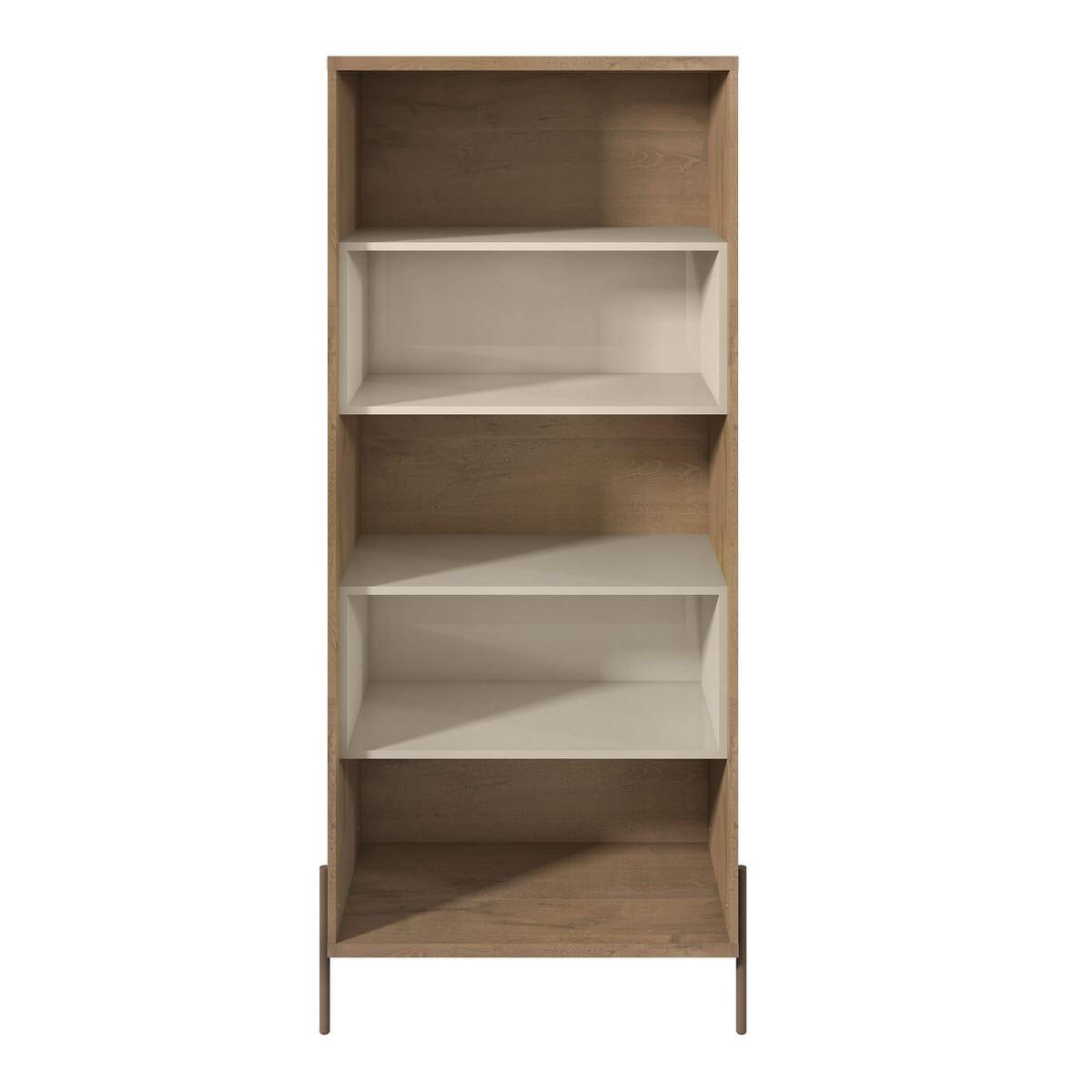 Joy Off White 5 Shelf Bookcase By Manhattan Comfort