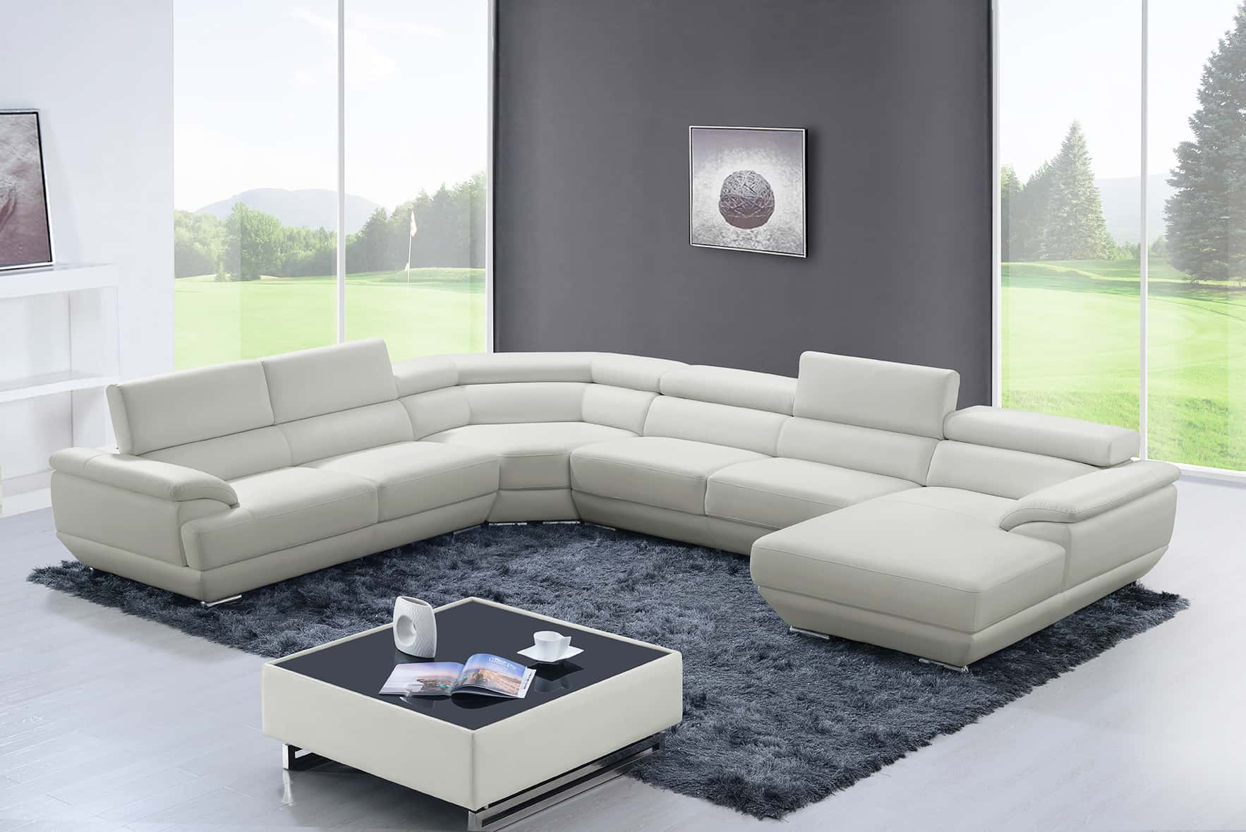 430 Off White Leather Sectional By Esf