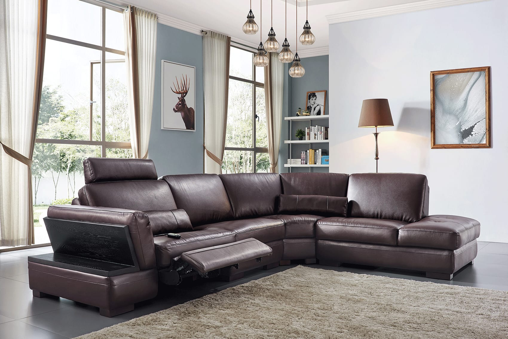 445 Dark Brown Leather Sectional Welectric Recliner By Esf