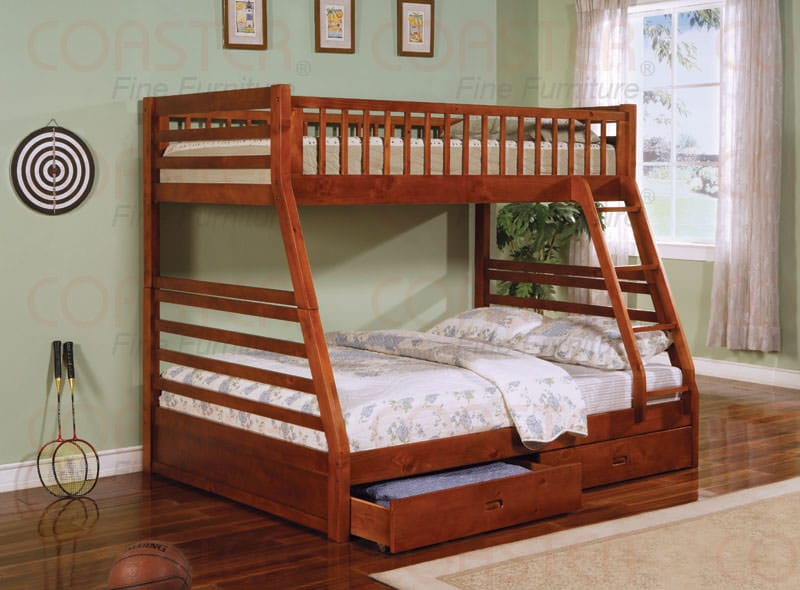 Twin Full Bunk Bed In Oak Finish By Coaster