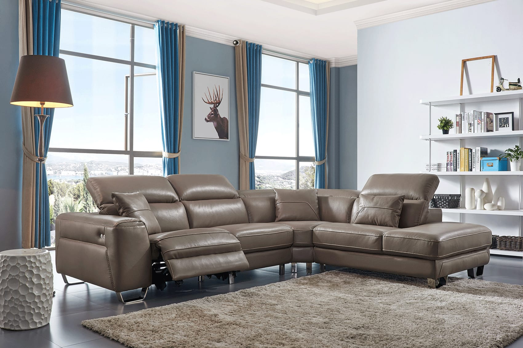 468 Brown Leather Sectional W Electric