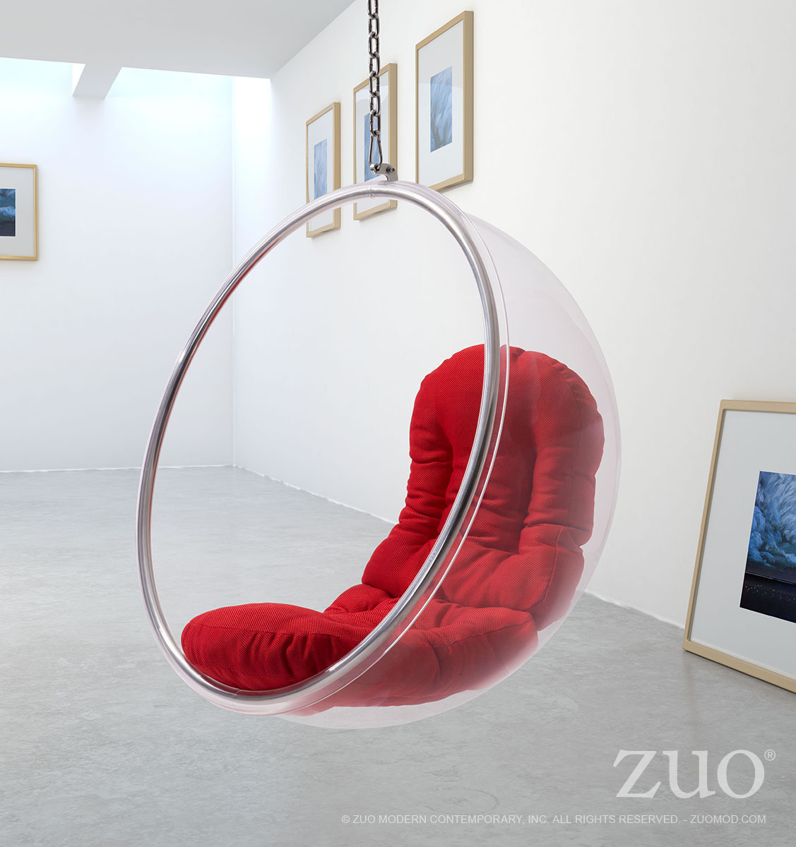 Marvelous Bolo Suspended Chair Red By Zuo Modern Customarchery Wood Chair Design Ideas Customarcherynet