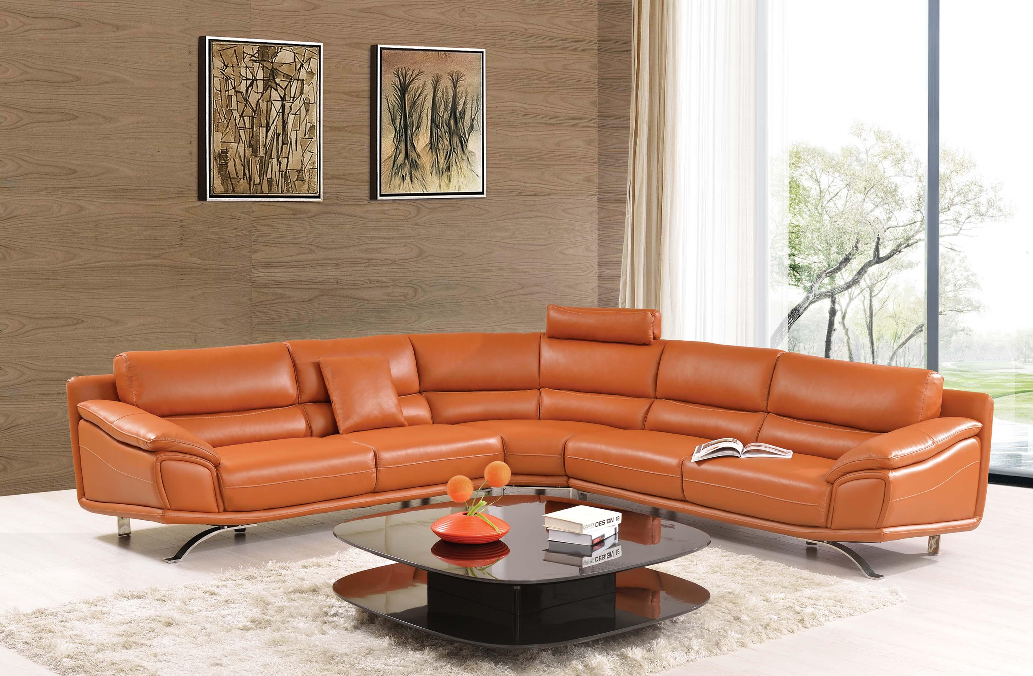 Terrific 533 Orange Leather Sectional By Esf Spiritservingveterans Wood Chair Design Ideas Spiritservingveteransorg