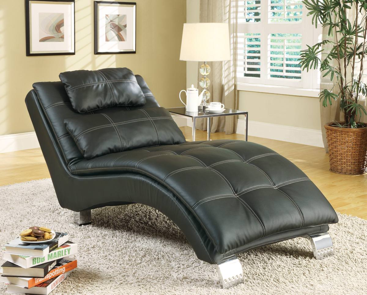 550075 chaise black by coaster for Black chaise lounge sofa