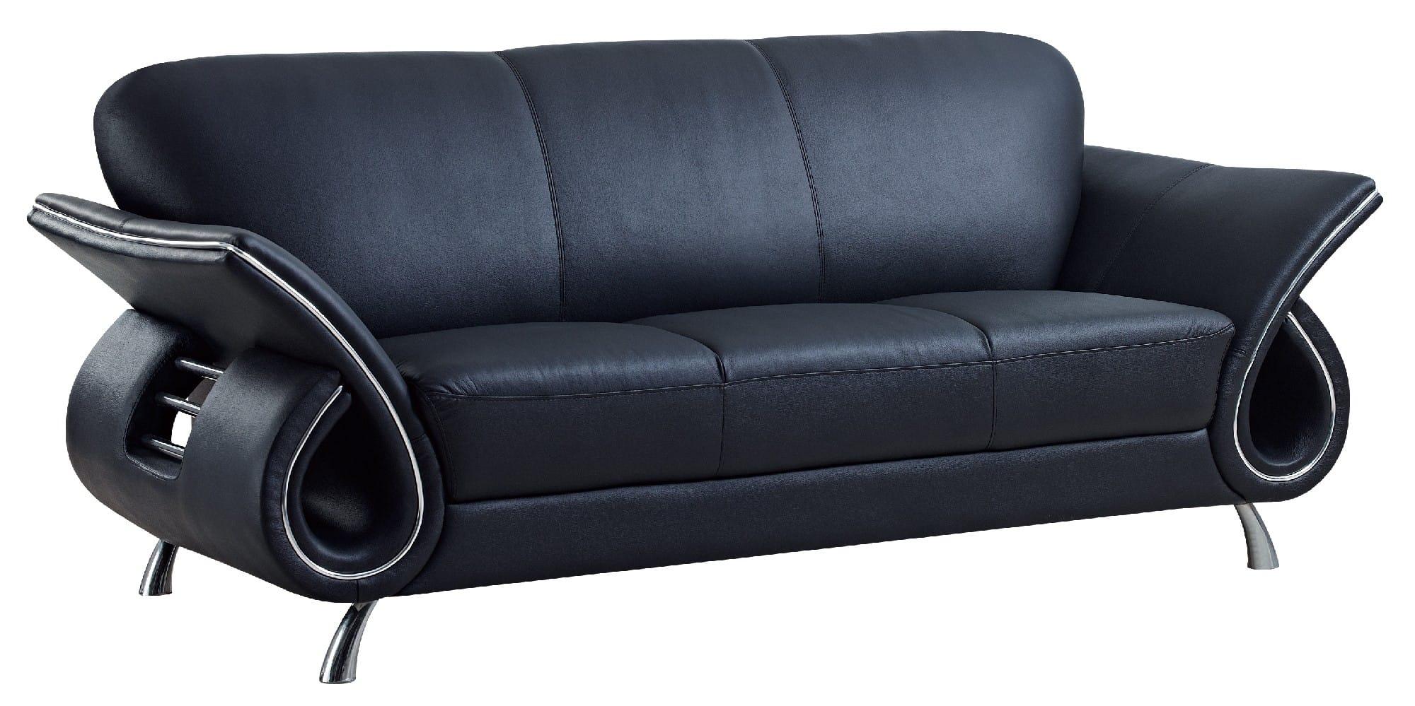 Floor Sample U559 Black Leather Sofa By Global Furniture