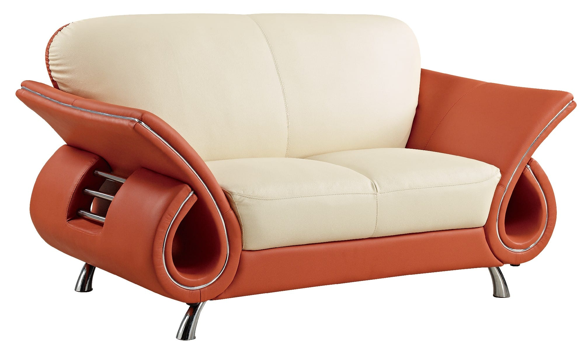 U559 Beige Orange Leather Loveseat By Global Furniture