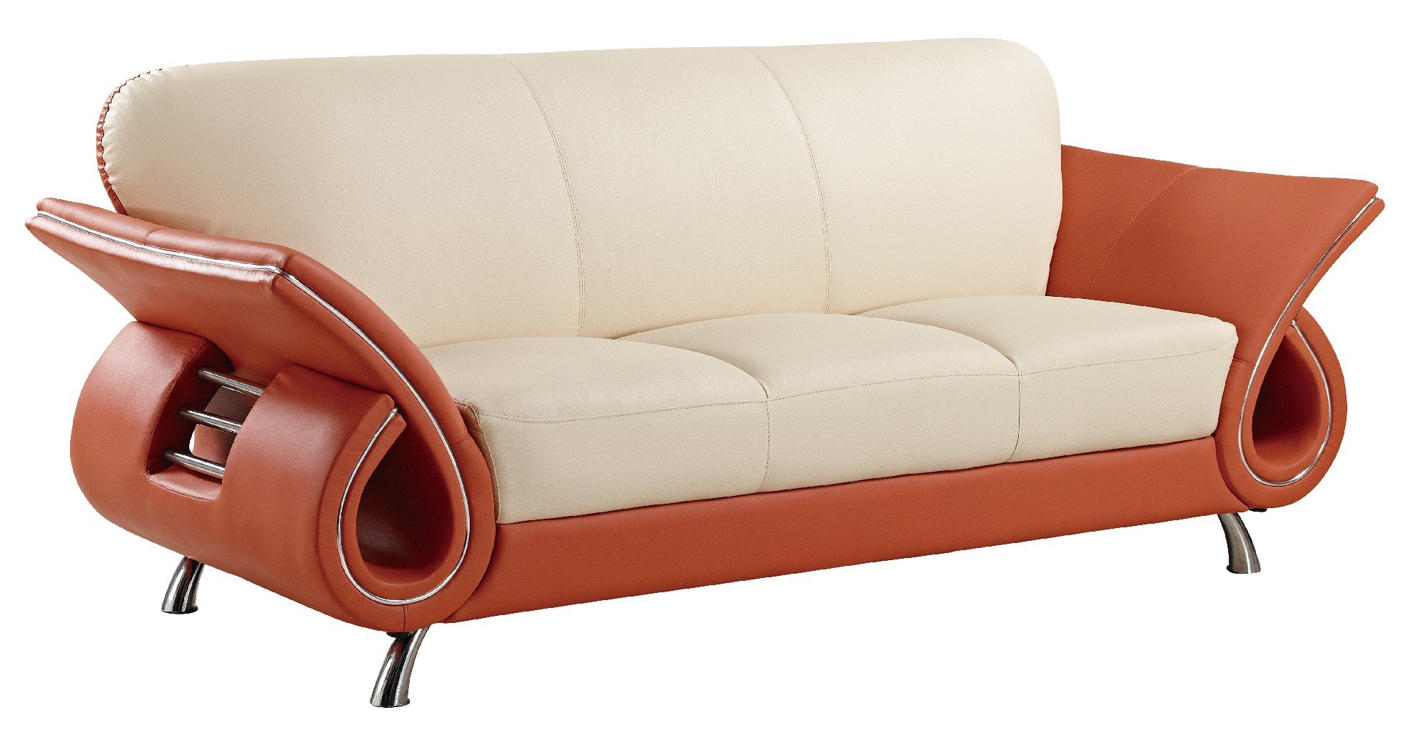 u559 beige orange leather sofa by global furniture. Black Bedroom Furniture Sets. Home Design Ideas