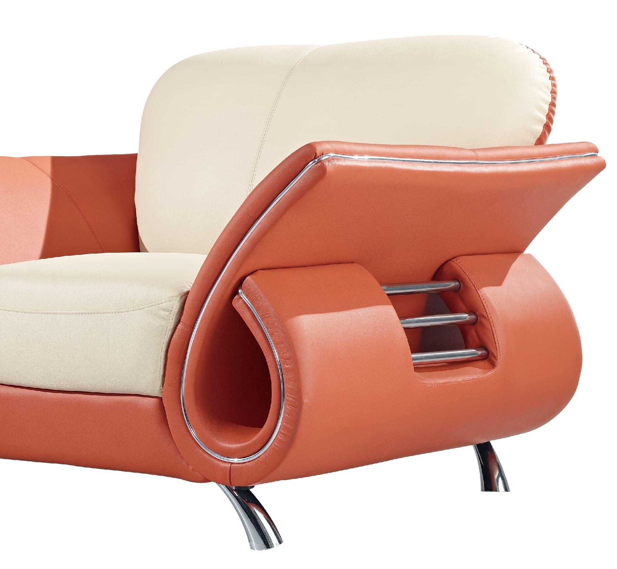 U559 beige orange leather sofa by global furniture for Sofa global 6450
