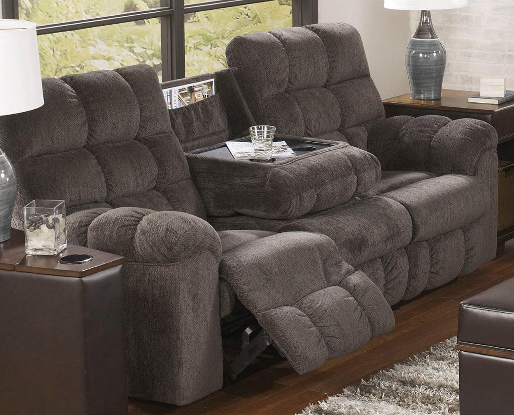 Acieona slate reclining sofa with drop down table by ashley furniture geotapseo Choice Image