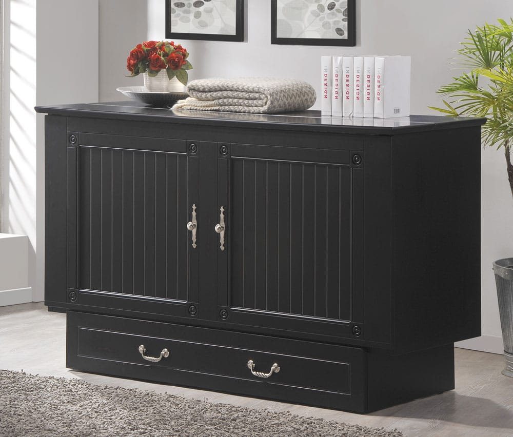 Cottage Queen Murphy Cabinet Bed Black By Arason Furniture