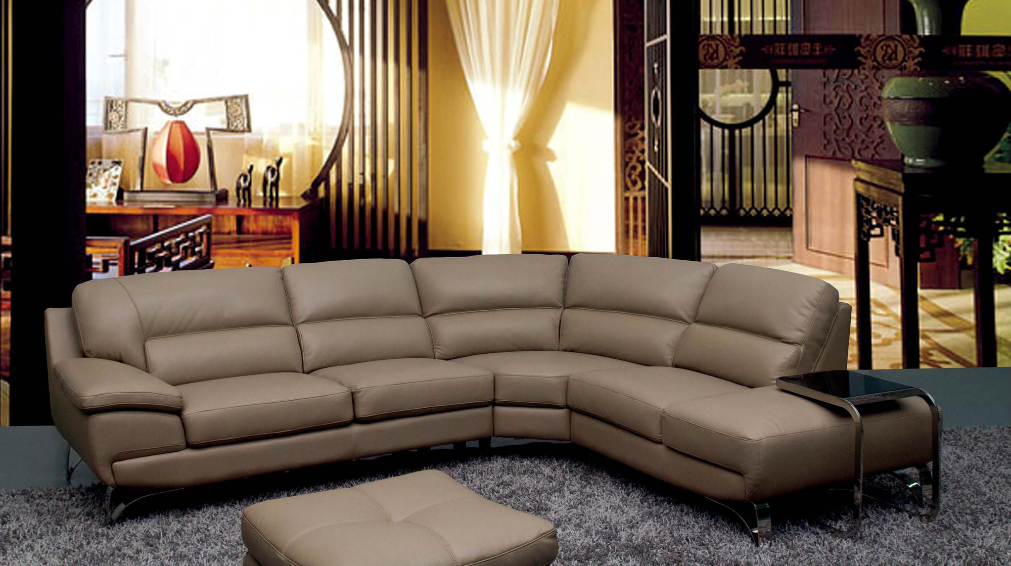 6015 Leather Sectional Sofa Set by ESF