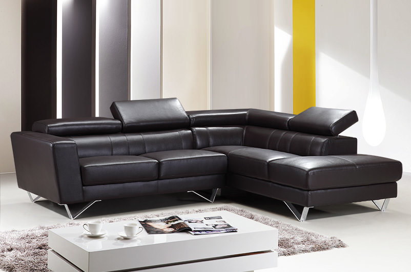 Sf6201 Dark Brown Genuine Italian Leather Sectional Sofa By At Home