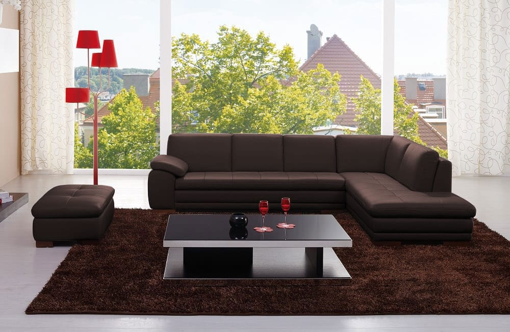 625 Premium Italian Leather Sectional Chocolate Brown by J&M Furniture