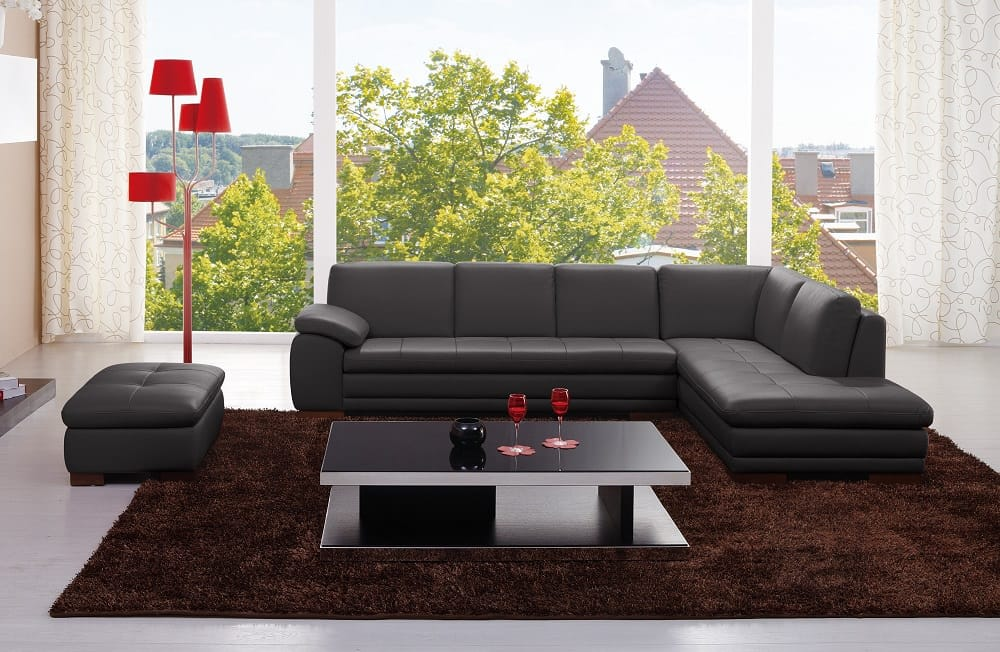 625 Premium Italian Leather Sectional Grey by J&M Furniture