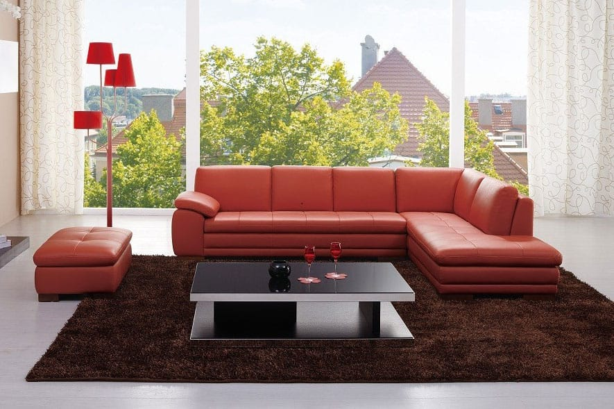 625 Premium Italian Leather Sectional Pumpkin by J&M Furniture