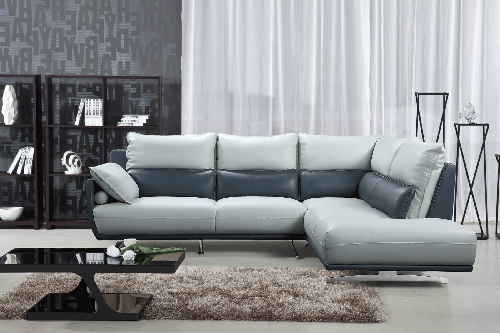 6311 Gray Leather Sectional By Esf