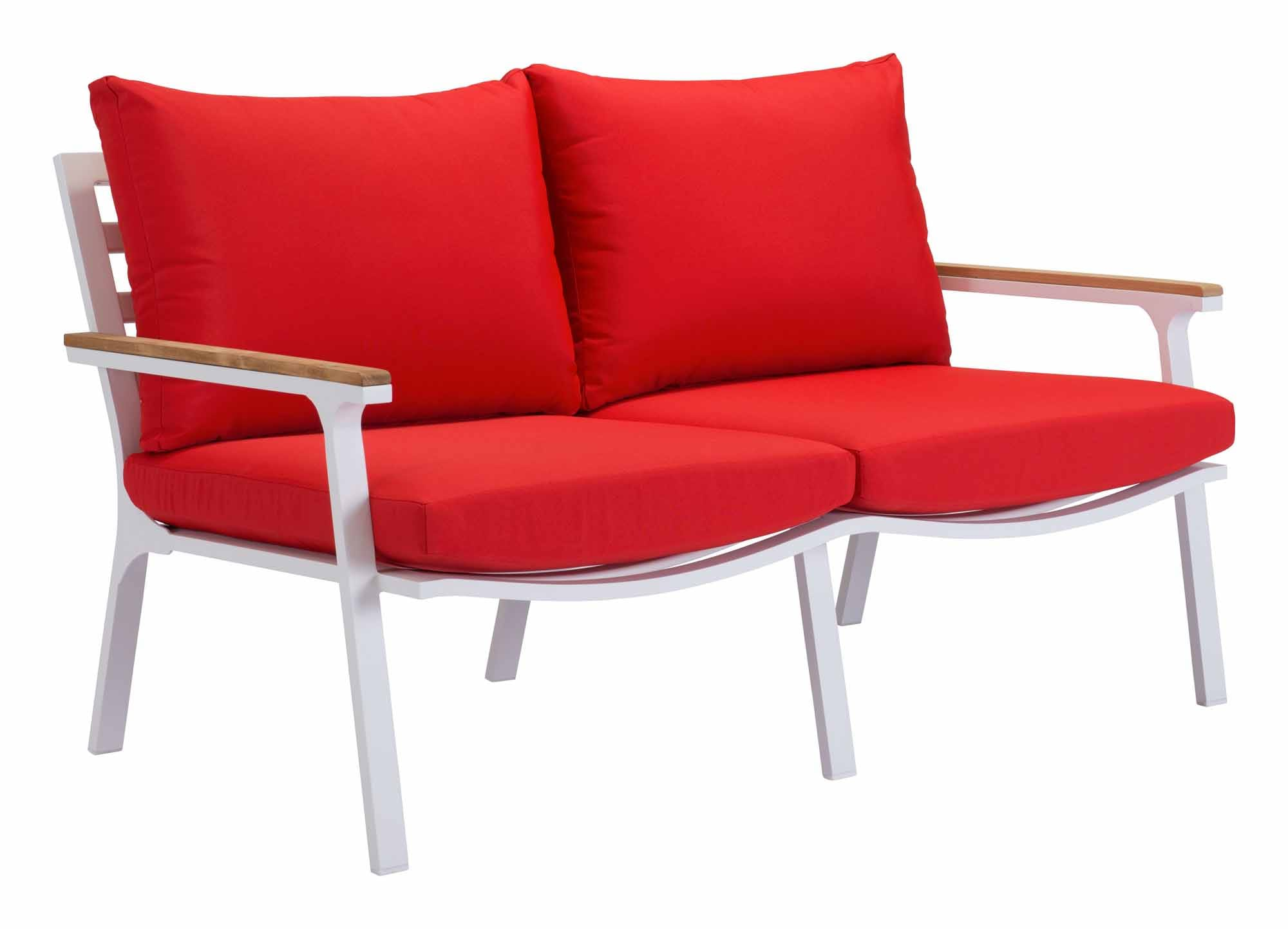 Phenomenal Maya Beach Sofa Red Natural White By Zuo Modern Andrewgaddart Wooden Chair Designs For Living Room Andrewgaddartcom
