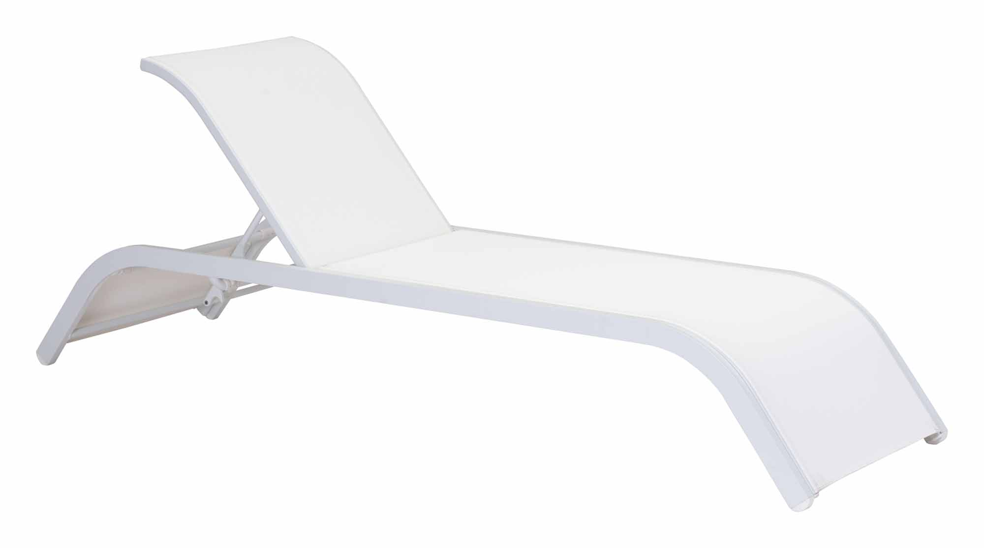 Sun beach chaise lounge white by zuo modern for Beach chaise lounge