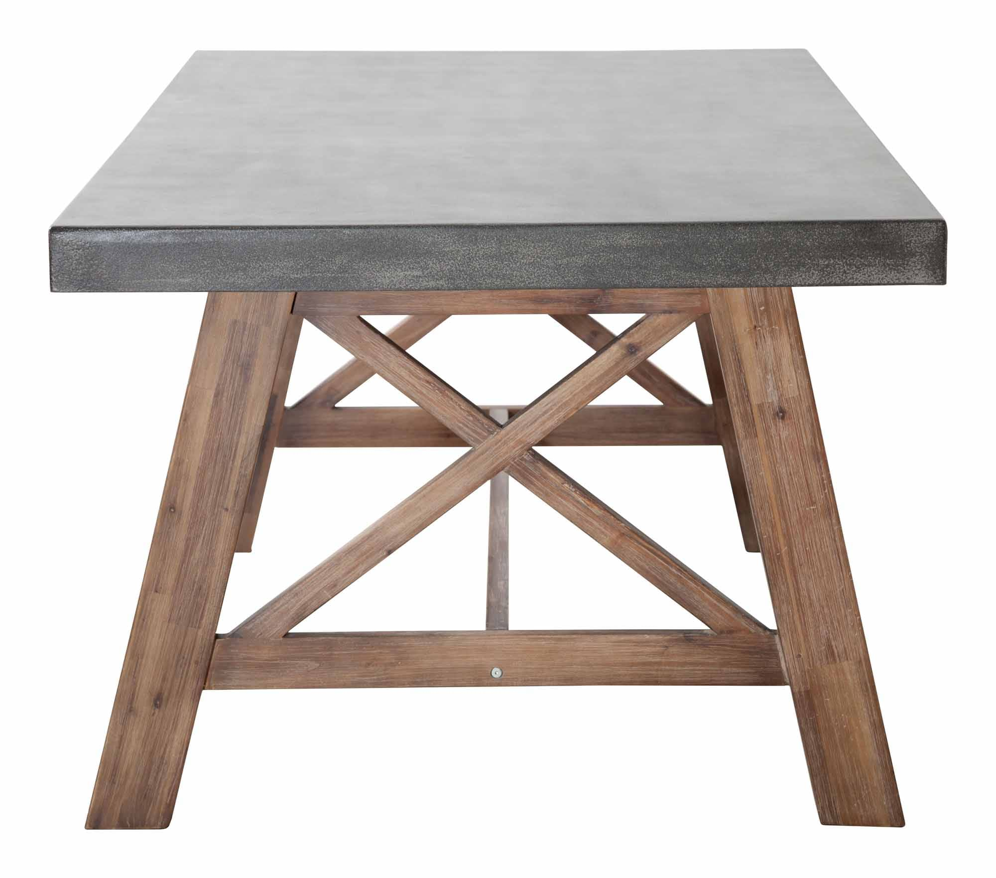 Ford Dining Table Cement & Natural by Zuo Modern